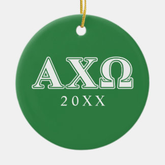 Alphi Chi Omega White and Green Letters Christmas Ornament