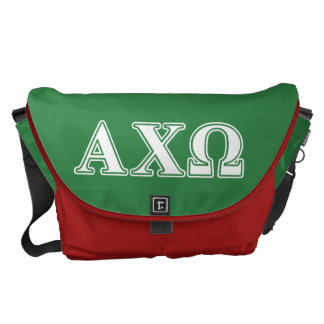 Alphi Chi Omega White and Green Letters Courier Bag