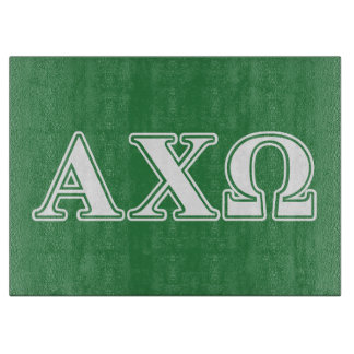 Alphi Chi Omega White and Green Letters Cutting Board