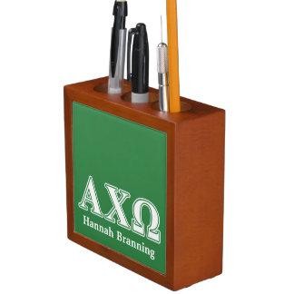 Alphi Chi Omega White and Green Letters Desk Organiser