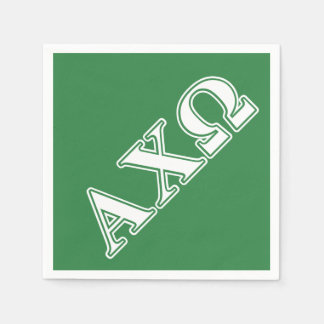 Alphi Chi Omega White and Green Letters Disposable Napkins