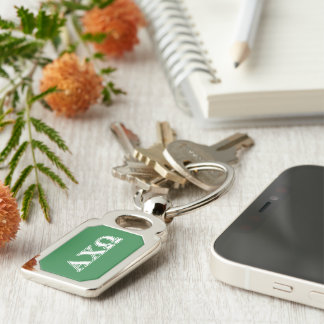 Alphi Chi Omega White and Green Letters Key Ring
