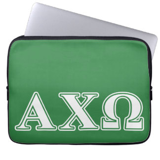 Alphi Chi Omega White and Green Letters Laptop Sleeve