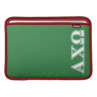 Alphi Chi Omega White and Green Letters MacBook Sleeve