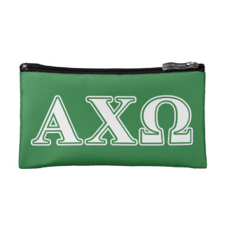 Alphi Chi Omega White and Green Letters Makeup Bag