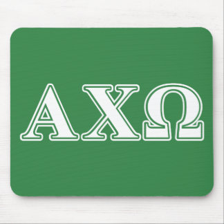 Alphi Chi Omega White and Green Letters Mouse Mat