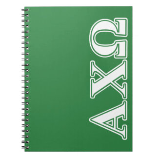 Alphi Chi Omega White and Green Letters Notebooks