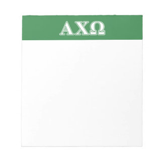 Alphi Chi Omega White and Green Letters Notepad