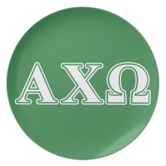 Alphi Chi Omega White and Green Letters Plate