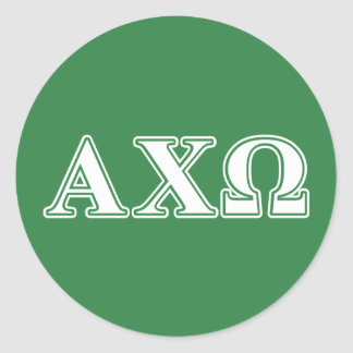 Alphi Chi Omega White and Green Letters Round Sticker