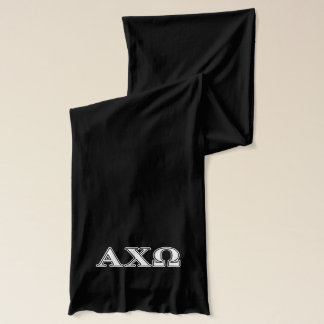 Alphi Chi Omega White and Green Letters Scarf