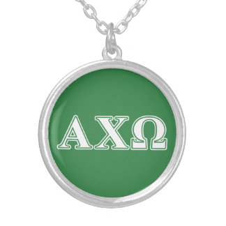 Alphi Chi Omega White and Green Letters Silver Plated Necklace
