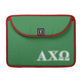 Alphi Chi Omega White and Green Letters Sleeve For MacBook Pro