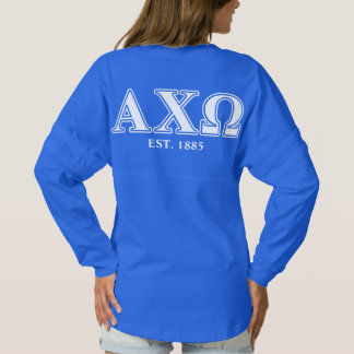 Alphi Chi Omega White and Green Letters Spirit Jersey