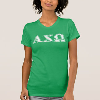 Alphi Chi Omega White and Green Letters T-Shirt