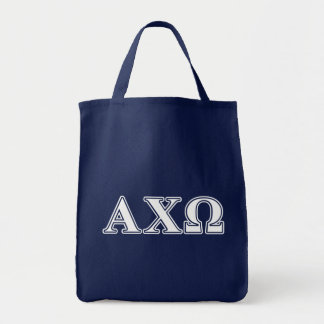 Alphi Chi Omega White and Green Letters Tote Bag