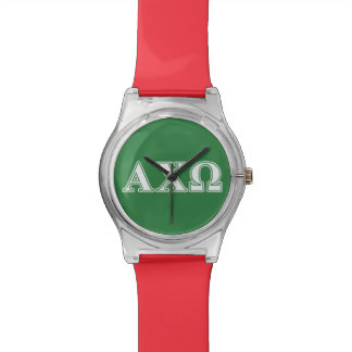 Alphi Chi Omega White and Green Letters Watch