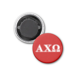 Alphi Chi Omega White and Red Letters 3 Cm Round Magnet