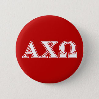 Alphi Chi Omega White and Red Letters 6 Cm Round Badge
