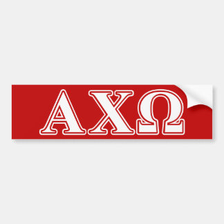 Alphi Chi Omega White and Red Letters Bumper Sticker