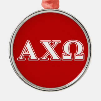 Alphi Chi Omega White and Red Letters Christmas Ornament