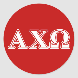 Alphi Chi Omega White and Red Letters Classic Round Sticker