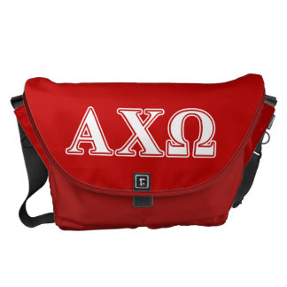 Alphi Chi Omega White and Red Letters Courier Bag