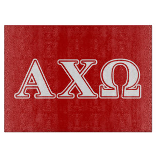 Alphi Chi Omega White and Red Letters Cutting Board