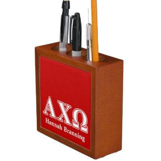 Alphi Chi Omega White and Red Letters Desk Organiser
