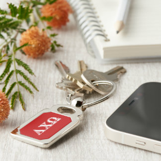 Alphi Chi Omega White and Red Letters Key Ring