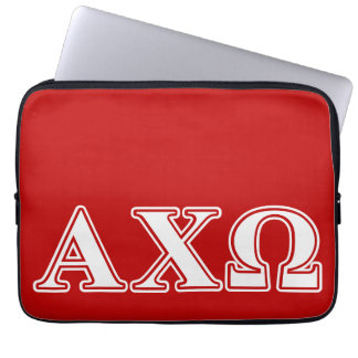 Alphi Chi Omega White and Red Letters Laptop Sleeve