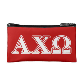 Alphi Chi Omega White and Red Letters Makeup Bag