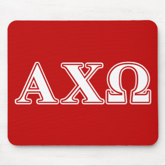 Alphi Chi Omega White and Red Letters Mouse Mat