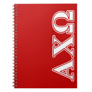 Alphi Chi Omega White and Red Letters Notebook