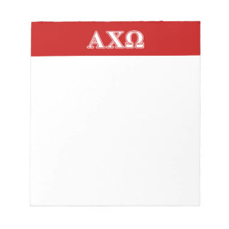 Alphi Chi Omega White and Red Letters Notepad