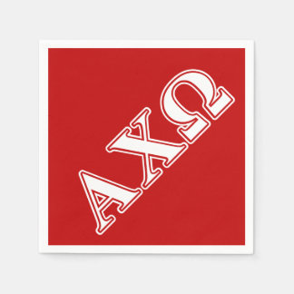 Alphi Chi Omega White and Red Letters Paper Napkin