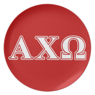 Alphi Chi Omega White and Red Letters Plate