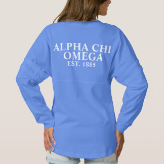 Alphi Chi Omega White and Red Letters Spirit Jersey