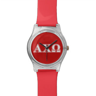 Alphi Chi Omega White and Red Letters Watch