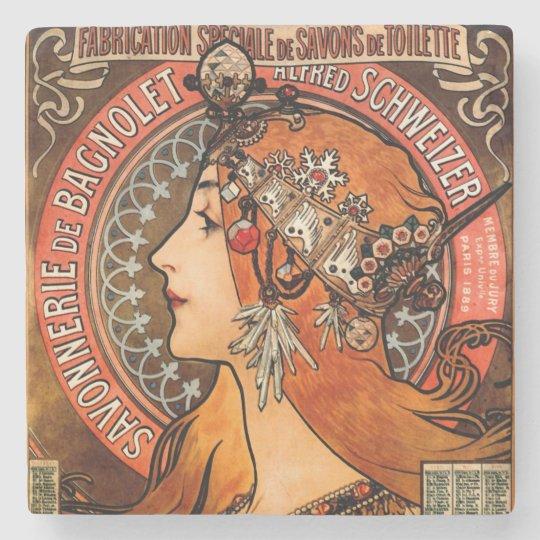 Alphone Mucha Beautiful Art Nouveau Lady Stone Coaster