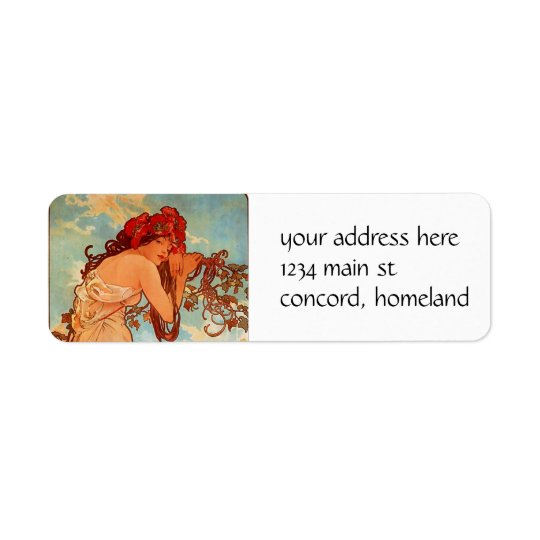 Alphons Mucha  Summer Return Address Label