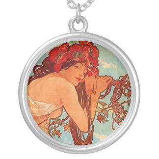 Alphons Mucha  Summer Silver Plated Necklace