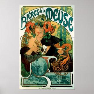 Alphonse (Alfons) Mucha - Bieres de la Meuse Poster