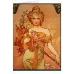 Alphonse (Alfons) Mucha  Bouquet Greeting Card