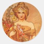 Alphonse (Alfons) Mucha  Bouquet Round Sticker