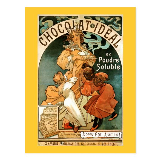 Alphonse (Alfons) Mucha Chocolat Ideal Postcard