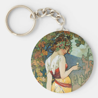 Alphonse (Alfons) Mucha: Cognac - Art Nouveau Keychain