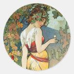 Alphonse (Alfons) Mucha: Cognac - Art Nouveau Round Sticker