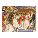 Alphonse (Alfons) Mucha Postcard:  Amants