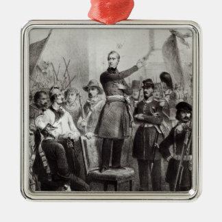 Alphonse de Lamartine at the Town Hall Silver-Colored Square Decoration